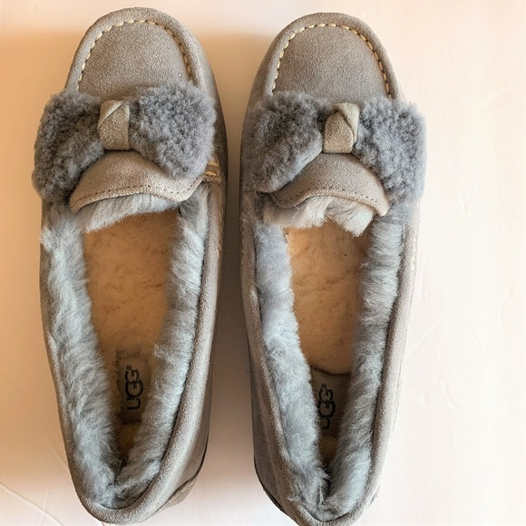 4195d2d2979 UGG Ansley Bow Moccasin SLIPPERS ~ GEYSER Gray 9
